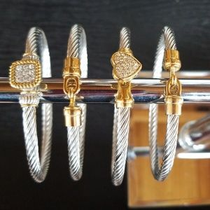 Two tone pave stainless and gold bangles